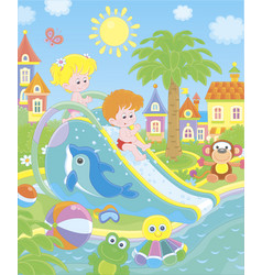 Small children on a waterslide in an aquapark vector