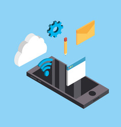 smartphone technology with data service connect vector image