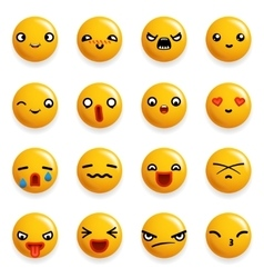 Smile Emoticon Icons Set Isolated 3d Realistic vector image
