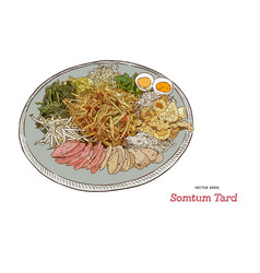 Somtum tard papaya salad on tray hand draw sketch vector