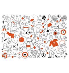 sport doodle set vector image