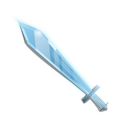 steel broadsword in cartoon style vector image