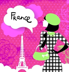Stylish background with woman silhouette in France vector