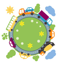 Summer landscape with round road and cars vector