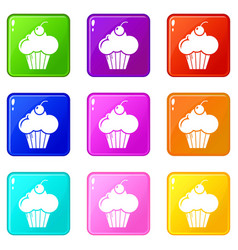 sweet cupcake icons set 9 color collection vector image