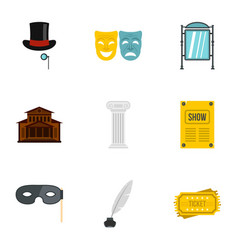 Theatre icons set flat style vector