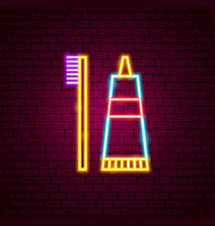 toothbrush neon sign vector image