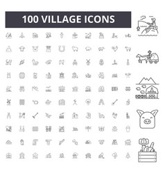 Village line icons signs set outline vector