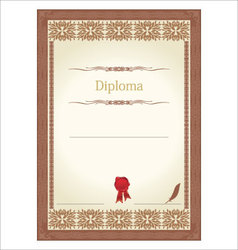 vintage frame certificate or diploma template vector image vector image