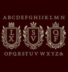 vintage initial logos kit coat of arms frames vector image