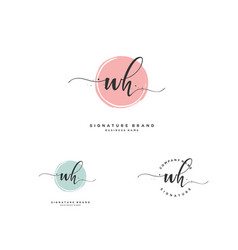 w h wh initial letter handwriting and signature vector image