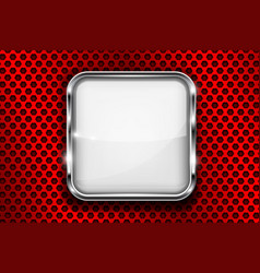 White button on red perforated background square vector