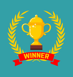 winner gold cup icon with wreath in flat style vector image