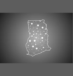 Wireframe mesh polygonal ghana map abstract vector
