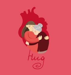 Woman hugs grandmother a hug in shape vector