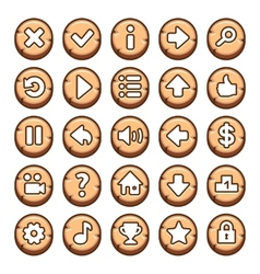 wooden round video game buttons vector image