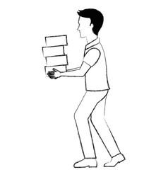 worker construction lifting bricks vector image