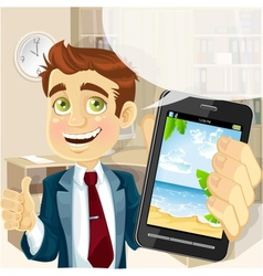 Business man in office shows a photo resort on the vector image vector image