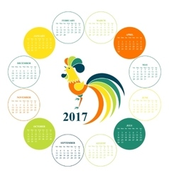 Calendar for 2017 Chinese New Year Red Rooster vector image