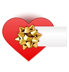 gift heart with bow top view with card vector image vector image