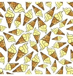 Ice cream waffle cone seamless background vector image vector image