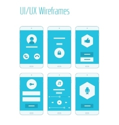 Mobile UI and UX Wireframes Kit vector image