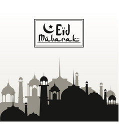monochrome background silhouette eid mubarak with vector image