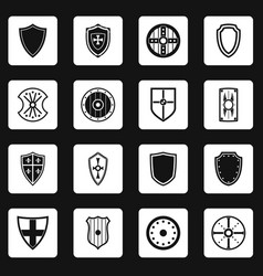 shield frames icons set squares vector image vector image