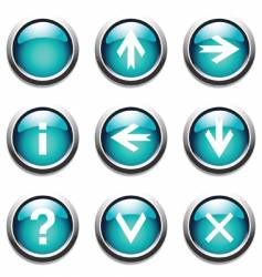 turquoise buttons with signs vector image