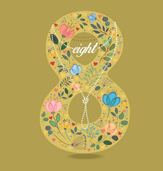 yellow number eight with floral decor and necklace vector image vector image