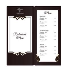 elegant vertical restaurant menu with leafy vector image