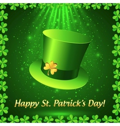 Green Patricks leprechaun hat with golden clover vector image vector image