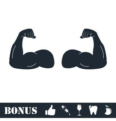 Muscular arm icon flat vector image