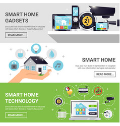 Smart home horizontal banner set vector