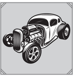 a stylish monochrome hotrod on a vector image