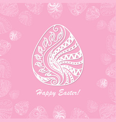 card of easter with graphic eggs vector image