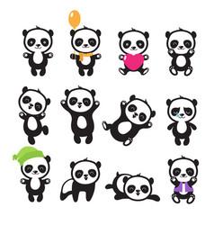 cute cartoon chinese panda bear character vector image vector image