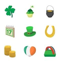 Holiday Saint Patrick day icons set cartoon style vector image vector image