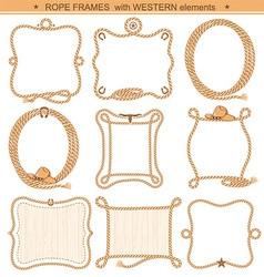 Rope frames background for text with cowboy vector image