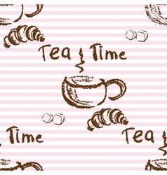 Tea time vintage seamless background vector image