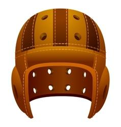 Vintage old leather american football helmet vector image