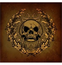 grunge floral frame with skull vector image vector image