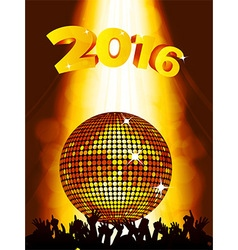 New Years party background with disco ball and vector image