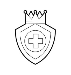 Shield guard with crown and cross vector