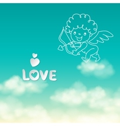 Shooting from bow Cupid and the word Love on the vector image