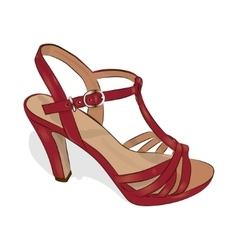 Sketch of women red shoe on a white background vector image vector image