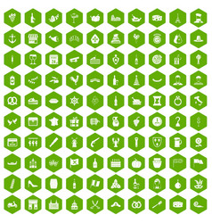100 alcohol icons hexagon green vector image