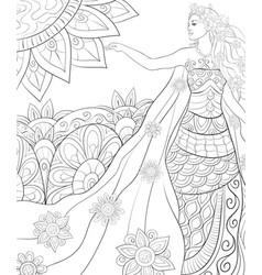 Adult coloring bookpage a cute fairy spring vector