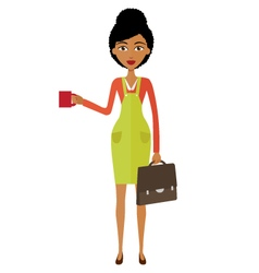 african woman standing and drinking coffee vector image