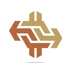 Arrow symbol hexa connecting icon vector